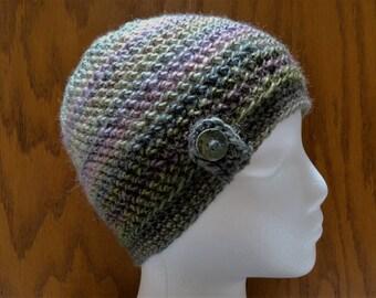 Crochet Herringbone Button Beanie Olive Green Purple Pink Mauve Hat Cap Cloche