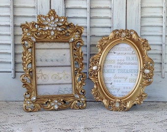 Jeweled Metallic Gold Ornate Picture Frames - Set of 2 Hollywood Regency - Table Top Desk Top Mantel Frames