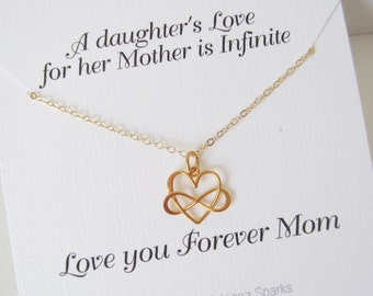 Mother of the Bride card with Gold infinity Heart necklace, Mother Necklace, Infnity Love Necklace Mother of the Bride crad with Necklace