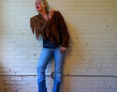 SALE Fringe Jacket 1980s Distressed Leather Retro Country Western Womens Outerwear Small Vintage Batwing Tassel Motorcycle Short Cropped Coa