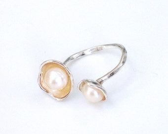 Pearl Flower Ring Sterling Silver Pearl Ring Genuine Pearl Adjustable Flower Sterling Silver Ring