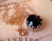 Black Crystal Necklace, Vintage Inspired Jewelry, Gold-Filled Necklace