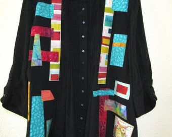 RESERVED Upcycled Shirt Jacket Artsy Top SZ 2X 3X Linen