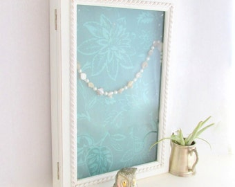 SALE Vintage Hanging Jewelry Cabinet White Turquoise Wood Glass