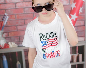 Boy Fourth July Shirt,Rockin the Stars and Stripes,Patriotic Shirt, Fourth July Shirt, Memorial Day Shirt, My First Fourth of July