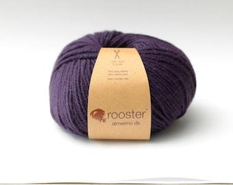 DK Yarn, purple yarn, Rooster Yarn, DK wool, alpaca and merino wool, 50g ball of wool in Damson colourway, purple wool, UK wool, knitting