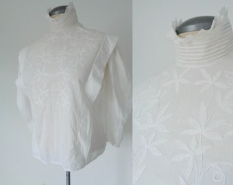 EDWARDIAN High Neck Crisp White Blouse with Embroidery & Lace