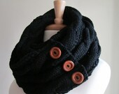 SALE Black Infinity Loop Scarf Braided Cable Knit Circle Neckwarmer Scarves with Buttons Cream Women Girls Accessories