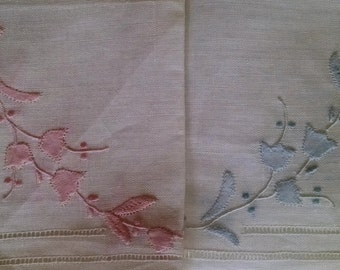 Set of Two Hankies-Pink and Blue Linen  Handkerchiefs