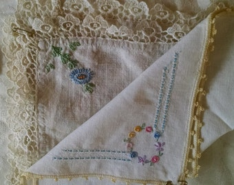 Two Embroidered Handkerchiefs
