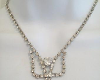Vintage Rhinestone Choker Necklace Jewelry 100 Plus Clear Rhinestones Necklace circa 1940s Jewelry