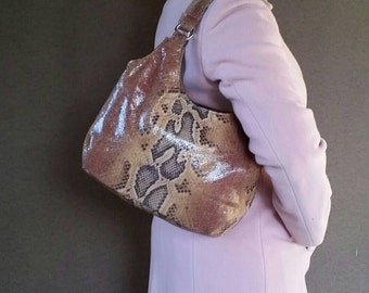 Leather Shoulder Bag with Unique Pattern, Everyday Fashion Handbag, Small Stylish Tote Purse bony
