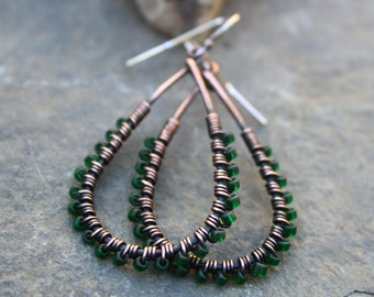 Teardrop Earrings, Sale, Oxidized Copper, Seed Bead Earrings,  Emerald, Wire Wrapped Earrings, Green Earrings, Lightweight Earrings, Boho