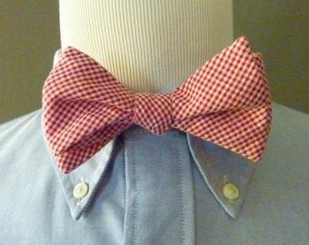 KILLER Vintage 100% Cotton Red & White Gingham Micro-Check Trad / Ivy League Adjustable Self Tie Bow Tie.  Made in USA.