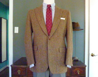 Vintage Brooks Brothers Brooksgate HARRIS TWEED 100% Wool Brown Herringbone Trad / Ivy League Sport Coat Tweed Jacket Sz 40 R.  Made in USA.