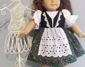 18 Inch American Girl doll clothes, Ethic European derdirl style dress with flower halo by Project Funway on Etsy
