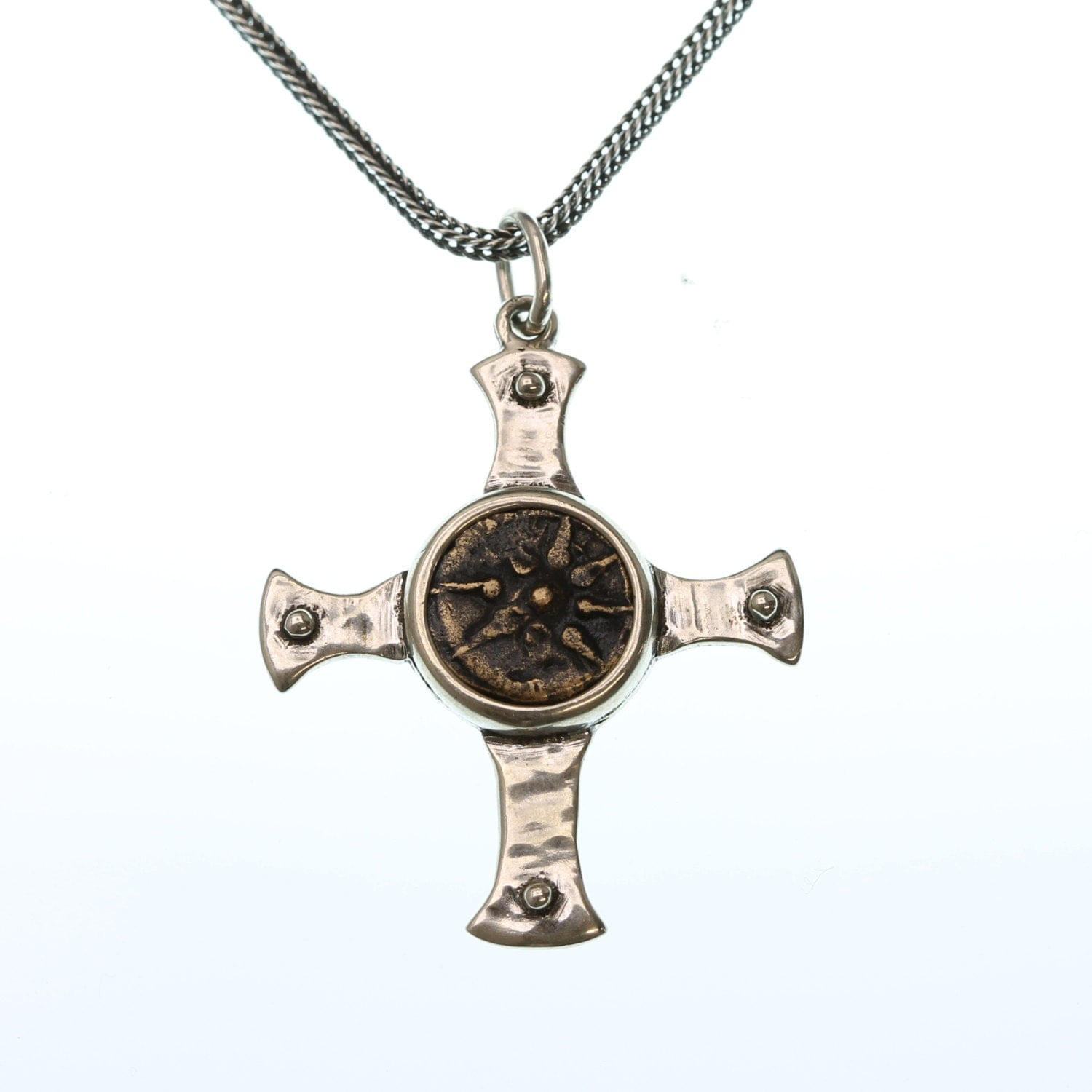 ancient coin necklace cross pendant necklace sterling silver