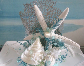 Starfish Seashell Beach Wedding Cake Topper~Sea Fan Cake Topper
