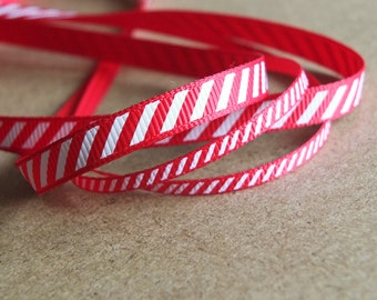 2 metres of Candy Cane Stripe Christmas Grosgrain Ribbon  - red with a white diagonal stripe - UK SELLER