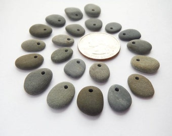 Small Top Drilled Beach Pebble Beads - Set of 21