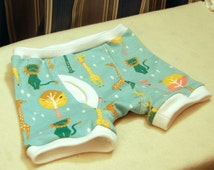 Lion and giraffe organic boxer briefs, stylized animals on blue background, children's sizes 1T through 10, trainers also available