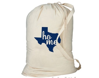 Laundry Bag, Texas Laundry Bag, Laundry Hamper, Home State Laundry Bag, Dorm Room Storage Bag, College Student Gift, Laundry Storage