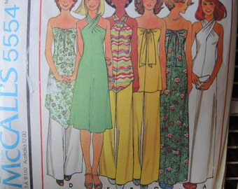 vintage 1970s McCalls sewing pattern 5554 misses dress or top and pants for knits, size 10 12