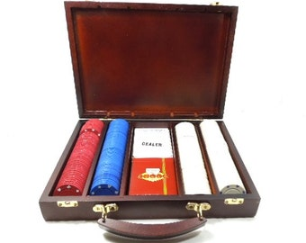Poker Chips in Wood Carrying Case, Hinged, 204 Chips, Gift for Man, Gift for Her, Poker card game