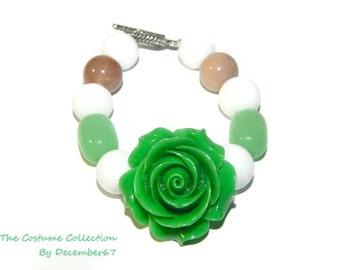 Big Flower Bracelet, Green And White Bracelet, Bracelet With Toggle Clasp, Chunky Beaded Bracelet