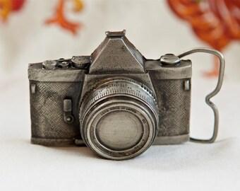 1979 camera belt buckle…SLR camera buckle…camera shaped buckle...Bergamot Brass Works buckle…made in U.S.A.