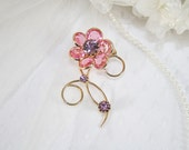 Vintage Pink Crystal and Rhinestone Flower Pin Brooch Think Spring Jewelry