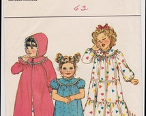 FF 80s Baby Toddler Girls Hooded Robe & Nightgown Vintage Sewing Pattern - Butterick 4674 - Size 1 2 3 4 Years UNCUT