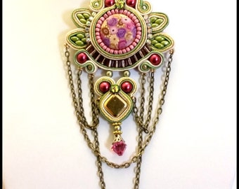 Soutache pendant with Polymer clay cabochon in pink, green and gold