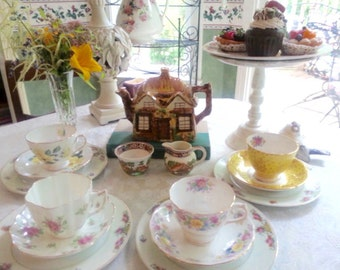 Whimsical English Cottage Mismatched Tea  Set 16 Pieces, Featuring Stunning Hertel Jacob and Co. Plates
