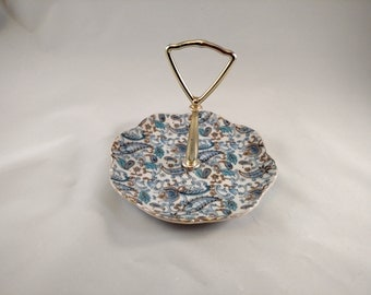 Lefton  Blue Paisley Handled Candy Dish