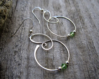 Medium Free Form Sterling Silver Earrings with Light Green Swarovski Crystals