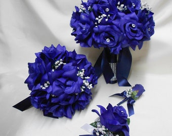 Wedding Silk Flower Bridal Bouquet Package Navy Blue Bride BridesmaidsToss Bouquets Boutonnieres Corsages FREE SHIPPING