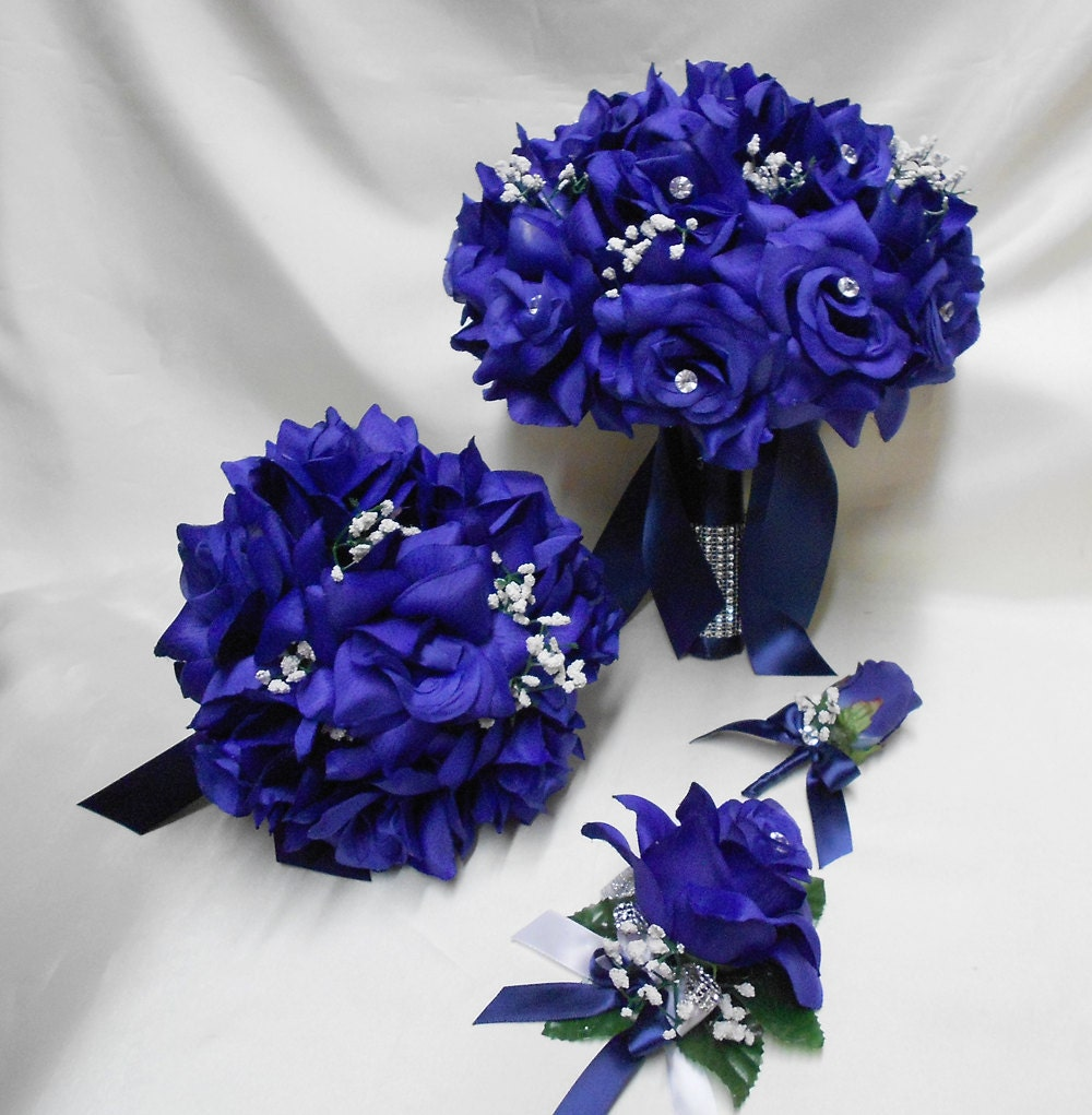 silk wedding bouquets packages wedding silk flower bridal bouquet package navy blue 7421