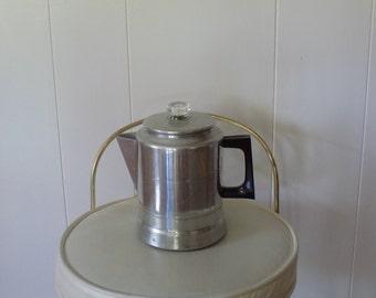 Vintage Worthmore Stove top 8 cup Coffee Pot - glass knob  Aluminum Perculator - made in USA