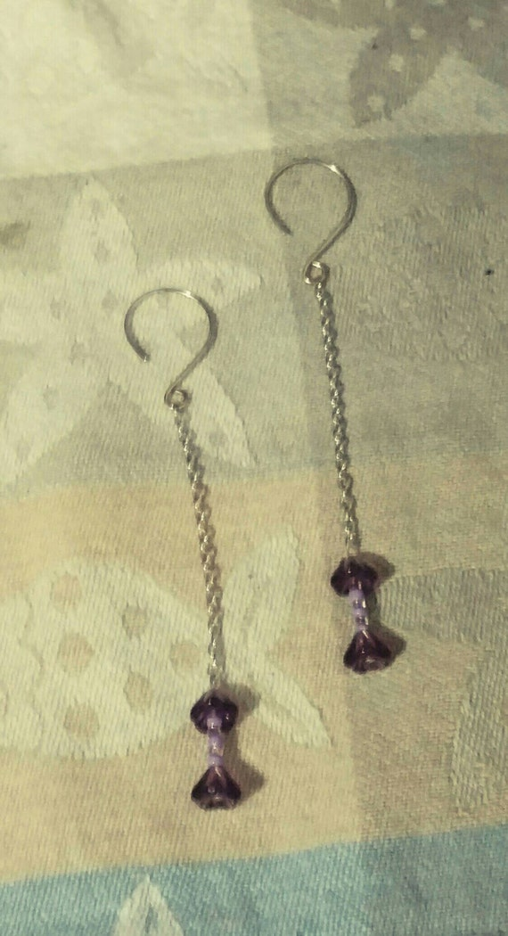 Sterling silver and blown glass dangle chain earrings with beautiful Amethyst fluted flower buds.