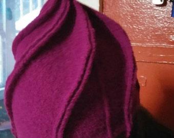 Fushia swirl wool winter hat upcycled