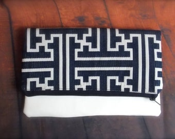 fold over clutch/navy blue clutch