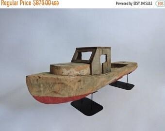 Half Price SALE Folk Art Model Maine Lobster Boat. Depression Era Pond Yacht on Custom Stand.