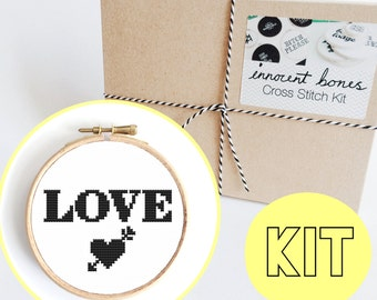 LOVE Tattoo Heart Modern Cross Stitch Kit - easy chart design includes all materials - quirky home gift idea - heart tattoo embroidery kit