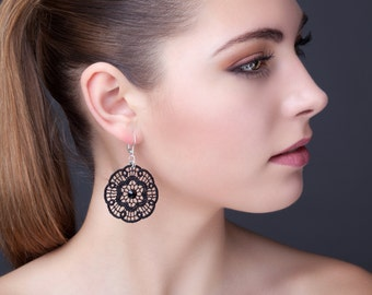 Black Lace and earrings in 925 Silver with Crystal rhinestones