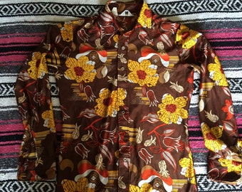 Vintage 70s/80s Polyester Floral Print Disco Button Up Shirt