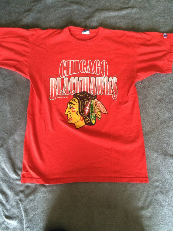 Vintage chicago blackhawks hockey t shirt for Vintage blackhawks t shirt