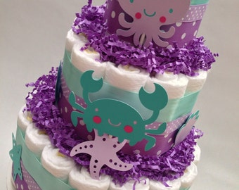 Under the Sea Diaper Cake, Baby Shower Centerpiece, Decoration, New Baby Gift, Diaper Cake for Girl, Mermaid