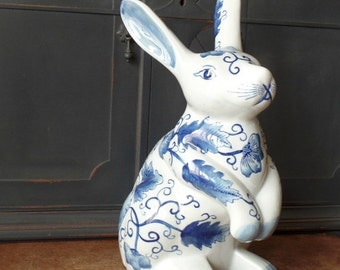 Clearance Victorian Ware Ironstone Rabbit, Blue, White, Large, Collectible, Easter, Spring, Home Decor