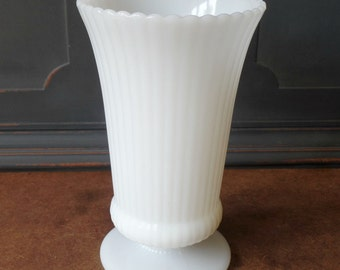 Vintage Milk Glass Vase, E. O. Brody Co., Ribbed, Scalloped, Pedestal, Wedding, Floral, Home, Collectible